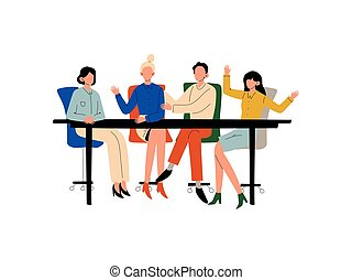 Business People Sitting at Desk and Discussing Project, Brainstorming, Teamwork, Colleagues Working Together in Office, Communication Between Coworkers Vector Illustration