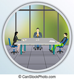 3d business people working together at desk in office ...