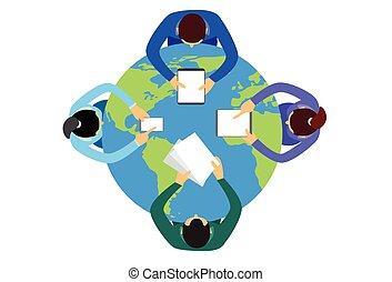 Business People Sitting Desk Globe