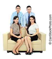 business people sitting on the couch