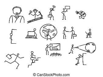 Business people sketches. In B/W