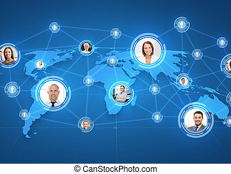 pictures of businesspeople over world map - business,...