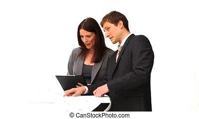 Business people speaking