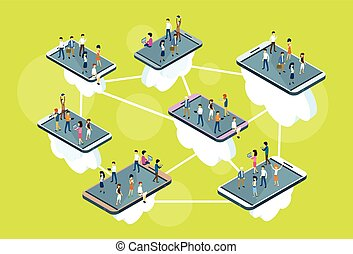 Business People Stand On Big Cell Smart Phone Social Network Communication Man Woman 3d Isometric
