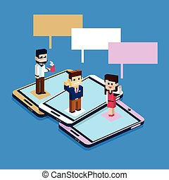 Business People Stand On Big Cell Smart Phone Social Network Communication Man Woman With Chat Bubble