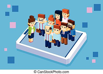 Business People Stand On Big Cell Smart Phone Social Network Communication Group 3d Isometric