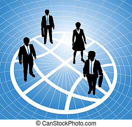 Business people stand on globe symbol grid
