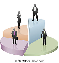 Business people stand on success pie chart piece