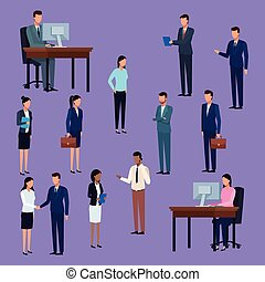 Business people standing and working at desk cartoon