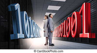 Business people standing back to back with 3d binary code
