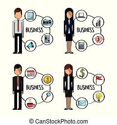 business people standing character with business elements