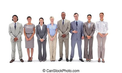 Business people standing in a line applauding