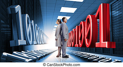 Business people standing in data center with binary code