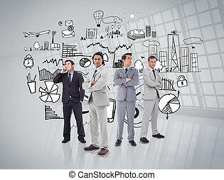 Business people standing in front of graphics
