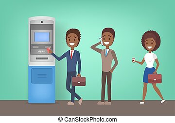 Business people standing in line at ATM illustration