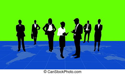 Business people standing on a map