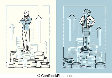 Business people standing on coins - set of line design style illustrations