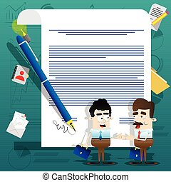 Business people standing on front of a signed contract. Business agreement concept. Vector illustration.