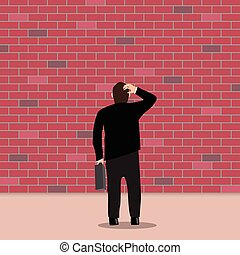 Business people stopped by a brick wall. Business Dead End