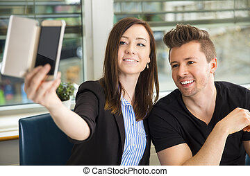 Business People Taking Selfie On Smart Phone
