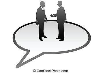 Business people talk inside communication speech bubble -...