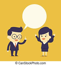 Business people talk with bubble speech
