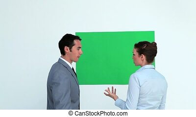 Business people talking about a copy space in studio