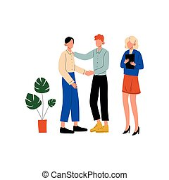 Business People Talking and Discussing in Office, Colleagues Working Together, Communication Between Coworkers, Friendly Environment, Corporate Culture Vector Illustration
