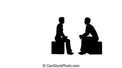Business people talking footage. Man and woman silhouettes...