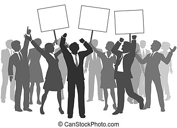 Team of business men and women holding three signs to celebrate company success