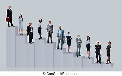 Business people team and diagram. Isolated over white background.