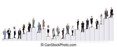Business people team and diagram. Isolated over white...