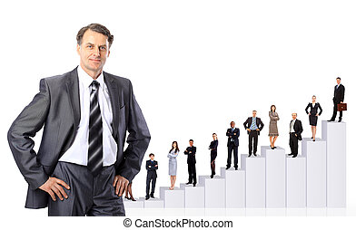 Business people team and diagram. Isolated over white ...