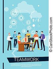 Business People Team Boss Manager Sit Working Desktop