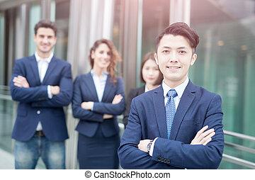 business people team crossed arm