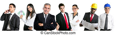 Business people team group in a line row isolate