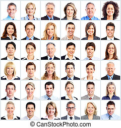 Group of smiling business people. Businessman and woman team. Isolated over white background.