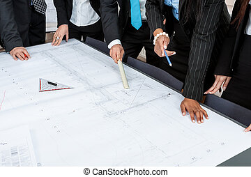 business people team in office presentation plan