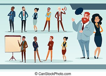 Business People Team Mix Race Businesspeople Group Working Set