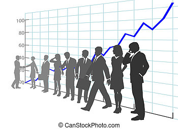 Business People Team Profit Growth Chart - A team of ...
