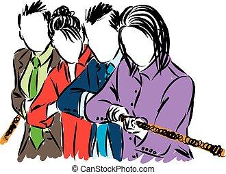 business people team pulling rope illustration
