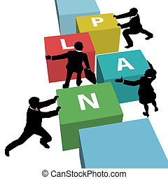 Business people team push PLAN together