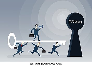 Business People Team Putting Key In Hole Success Opportunity Concept