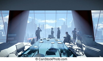 Business People Team, Rear View Cityscape, zoom in