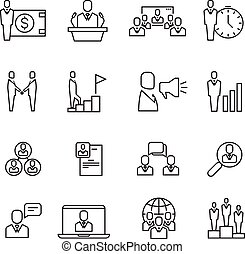 Business people team relationship, human management thin line vector icons set