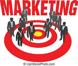 Business people team target marketing