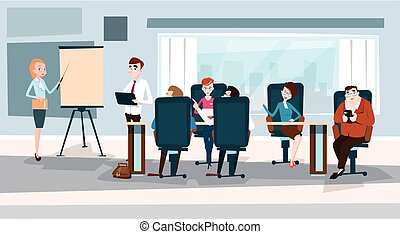 Business People Team With Flip Chart Seminar Training...