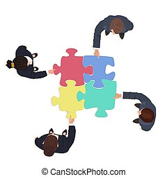 Business People team with jigsaw puzzle pieces. Finance solution concept.