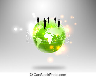 business people team with world