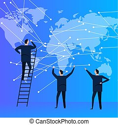 business people team with world map connecting the dot for global communication. modern corporation company.